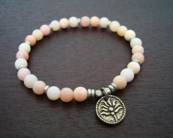 Women's Pink Opal Mala Bracelet - Pink Opal & Silver Lotus Mala Bracelet - Yoga, Buddhist, Jewelry, Meditation, Prayer Beads