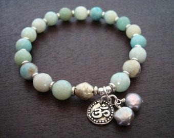 Women's Amazonite Om Mala Bracelet - Amazonite, Pearl, and Silver Om Mala Bracelet - Yoga, Buddhist, Jewelry, Meditation, Prayer Beads