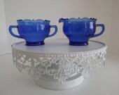 Vintage L.E. Smith Glass Cobalt Blue Depression Glass Creamer & Open Sugar Bowl Mt. Pleasant Double Shield Pattern