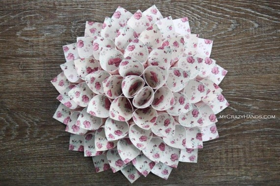 paper dahlia . 10 1/8'' dahlia flower wall decor . origami flower . origami gifts . wedding gifts . dahlia door wreath -floral bunches