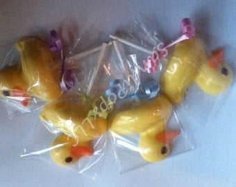 24 large Chocolate DUCK Lollipops for Baby Shower /  Baby Announcements,  Girl / Boy