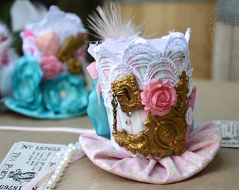 Pink Rose Wonderland Tea Party top hat - Mad Hatter - steampunk - victorian - party favor - photoshoot - costume.