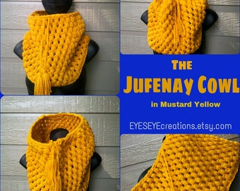 The JUFENAY Cowl - Chunky Drawstring Crochet Cowl in Mustard Yellow