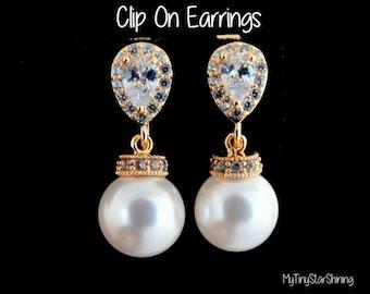 Clip On Earrings Pearl Earrings White Pearls Ivory Pearls cubic zirconia Earrings Gold Earrings Pearls Earrings Wedding Jewelry Bridal