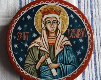 Saint Deborah.Catholic byzantine icon hand painted. It is available the icon shown in the picture.