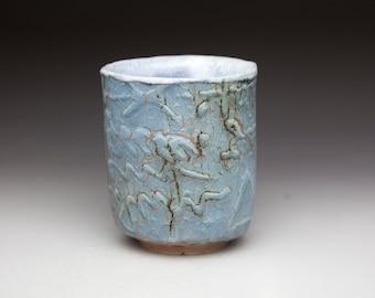 blue hand build ceramic  tumbler teacup