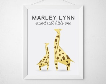 Giraffe Nursery Print - Personalized custom baby name decor baby shower gift girl boy unisex origami animal yellow - stand tall little one