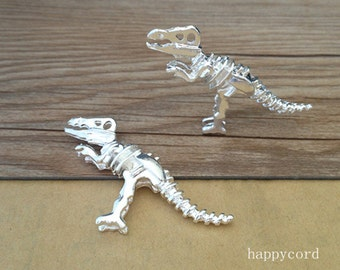 2pcs  silver color Double sided dinosaur Pendant Charms 21mmx56mm
