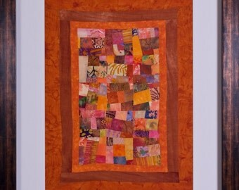 SWEET POTATOES: A Framed Fine Art Abstract Quilt Signed by the Artist