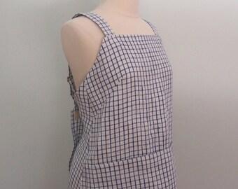 Blue Gingham Apron, Linen Apron Dress, Japanese Apron, Pinafore Apron, Wrap Apron, Flax Apron, Blue Gingham Yarn Dyed Linen, No Tie Apron