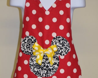 Minnie Mouse Apron, Little Girls Apron Size 3 - 5 Read to Ship