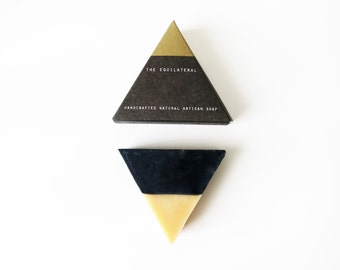 The Equilateral- Black Gold, triangle soap, unique gift, unique gift for holiday, holiday gift ideas, christmas gift ideas, Facial soap