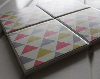 Pink Yellow Blue Geometric Triangle Four Piece Ceramic Tile Coaster Set