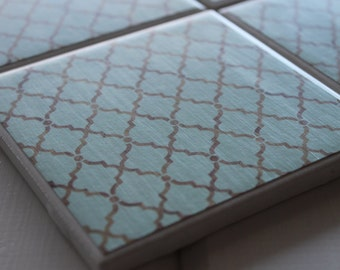 Mint Green Moroccan Coasters Four Piece Ceramic Tile Set