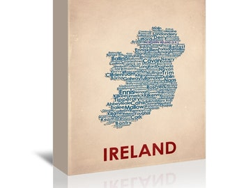 Ireland Contemporary Typography Word Map Ready-to-Hang Premium Gallery Wrap Canvas