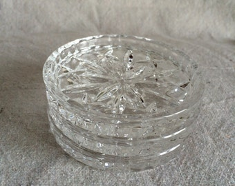 Vintage Glass Coasters- Set of 3