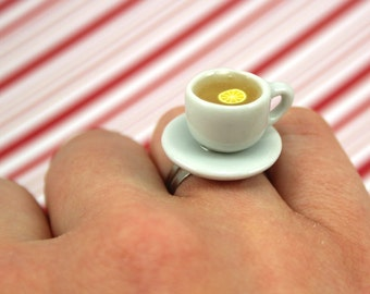 tea cup ring kawaii polymer clay charms miniature food jewelry polymer clay food ring teacup ring tea ring lemon ring tea charm tea jewelry