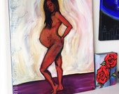 RESERVED Pregnant Nude - painting celebrating pregnancy