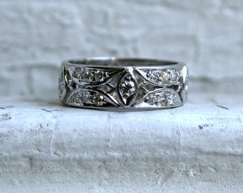 RESERVED - Wide Vintage Platinum Diamond Wedding Band.