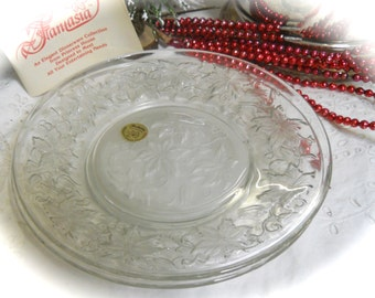 Set of 2 Princess House Glass 8 Inch Plates,  Fantasia Frosted Plates in Wonderful Condition