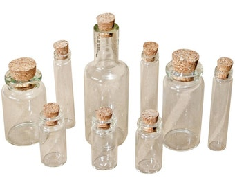 Tim Holtz Idea-Ology 9 Assorted Glass Vials with Corks