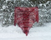 Crochet Shawl, Handmade Triangle Shawl, Winter Accessory Red Hand Crocheted Throw Lap Rug Mohair Shawl