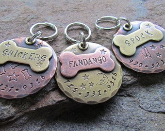 Large Dog Tag - Dog collar tag - pet id tag - pet tag - custom dog id tag - custom pet id tag - engraved - personalized pet - copper - brass
