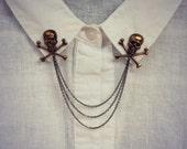 skull collar pins in antique brass, collar chain, collar brooch, lapel pin, skull pin, skull brooch