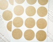 1 inch Kraft Round Stickers, Medium Circle Stickers, Kraft Paper Stickers, Self Adhesive, Set of 2 sheets or 42 circles