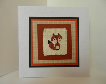 Fox Card - Cross-Stitch Card Greeting Card in browns in cross stitch fox