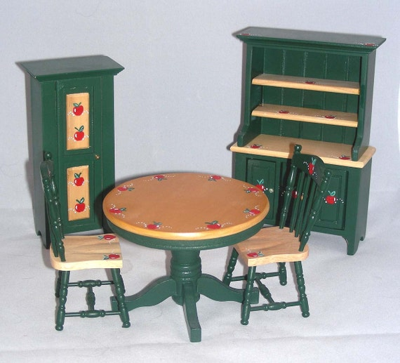 country apples kitchen 5pc set green oak 1 12 scale dollhouse