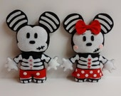RESERVED for BlueRocks: Skull bones Minnie and Mickey Mouse Plushies