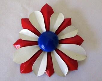 Vintage Red White & Blue Metal Flower Pin Brooch