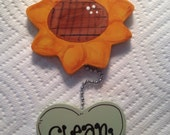 SUNFLOWER Dishwasher sign Magnet or Suction cup kitchen decor Dishes are Clean/DirtY FLOWER mint green heart