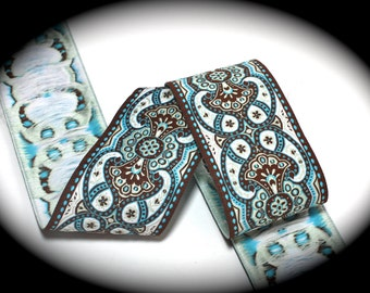 """Tres Jolie 1 7/8""""   in Blue, Brown and White  Woven Jacquard Ribbon - Tres2"""