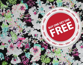 Buy 1 Get 1 FREE Floral Roses Pattern Fabric By The Yard Fat Quarter