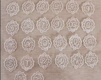 26Pcs Beige Letters alphabet Lace Fabric Trim Lace Fabric Trim Embroidery Lace Gauze Sets (ST24-Beige)