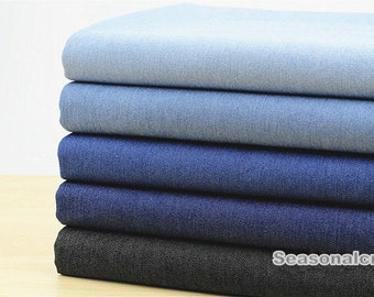 Spring Summer Denim Cotton Fabric, Stretch Washed Denim, often blue denim,Solid Color,Plain,diy,Sewing 1/2 yard (QT466)