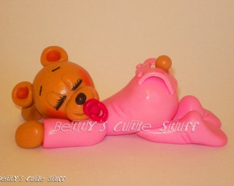 Baby Girl or Boy Teddy Bear - Baby Shower Bear Theme Favors / Souvenirs - Polymer clay Figurine Collectible