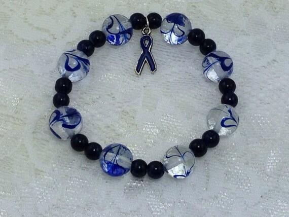 blue lwork glass colon cancer awareness bracelet