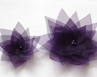 2 Dark Purple Organza Flowers Embellishment