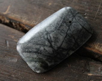 Azores Black Picasso Marble Stone Pendant (1) - Big and Bold - Necklace Focal Point 46mmx30mm - Gray Rectangular - Perfect for Wire Wrapping