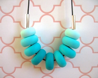 Polymer Clay Bead Necklace- Turquoise Ombre With Silver Beads