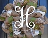 Spring Burlap Wreath in Moss and Cream with Vine Monogram