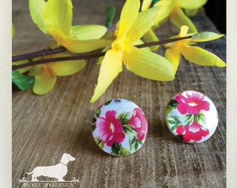 Aloha Lei. Post Earrings -- (Vintage-Style, Pink Flower Studs, Floral, Spring, Summer, Blooms, Tropical, Cute, Bridesmaid Jewelry, Under 10)