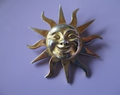 Jewelry Vintage signed Alva ladies brooch  gold tone Sun face pin