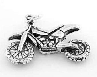 Sterling Silver Motocross Dirt Bike Charm