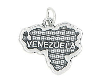 Sterling Silver Travel Map of Venezuela Charm (Flat Charm)