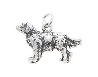 Sterling Silver Golden Retriever Dog Charm (3d charm)
