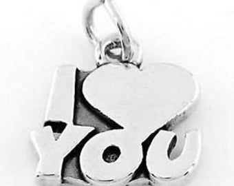 Sterling Silver I Love You Charm Pendant (One Sided Charm)